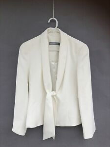 /🍃 ANTHEA CRAWFORD white Fitted Suit Suiting Work Jacket 12 M Tie Front