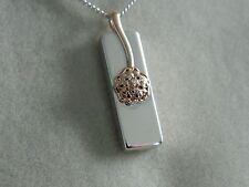 Clogau Silver & Rose Welsh Gold Tudor Rose Diamond Ingot Pendant