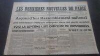 Periodico Los más Reciente Nuevas De París N º 20 Mardi 9 Julio 1940 ABE
