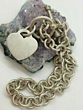 """Link Heart Bracelet 7.5"""" Vintage Sterling Silver Large Circle"""