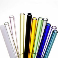 7 Colors Reusable Straight Pyrex Glass Drinking Straw for Wedding Birthday Party