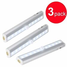 3 x Wireless PIR Motion Sensor 10 LED battery powered Bright Cabinet Wardrobe