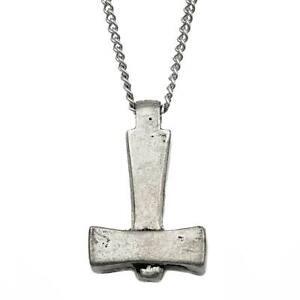 Viking Necklace Uppsala Thors Hammer Pewter Pendant (2.6mmCurb)