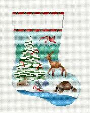 Forest Friends Mini Stocking handpainted 13mesh Needlepoint Canvas Susan Roberts