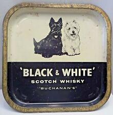 BLACK & WHITE SCOTCH WHISKEY BUCHANAN'S TIN ADVERTISING SERVING TRAY COLLECTIBLE