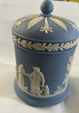 Wedgwood Jasperware Cigarette Jar W/ Lid White On Blue Covered Box