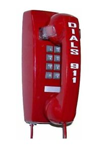 Emergency Hotline Wall Phone w/ Keypad, Red - Auto Dials 911