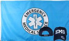 Wholesale Combo 3x5 Emergency Medical Service Flag & EMS Blue Shadow Hat Cap