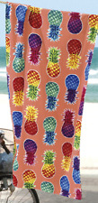 "Colorful Pineapples Beach Towel - 30"" x 60"" - Velour - Made In Brazil"