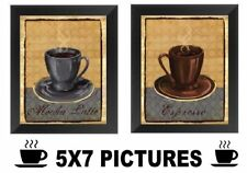 Coffee Pictures Espresso Mocha Latte 5x7 Wall Hangings Kitchen Diner Decor