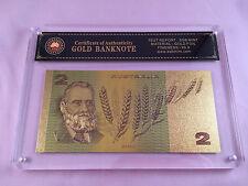 SLABBED/CERTIFIED AUSTRALIAN PAPER $2.00 24KT COLOURED GOLD FOIL BANKNOTE