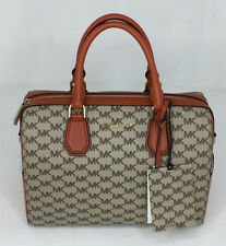 NWT New Michael Kors Handbag Mercer Medium Duffle Purse Coated Canvas Orange Bag