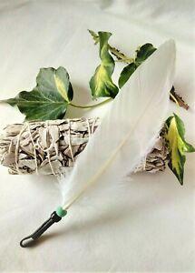 Smudging Set - Handcrafted Smudging Feather + White Sage Smudge Stick. Saging