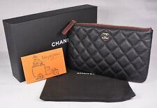 NWT Authentic Chanel Black Caviar O Case Small Pouch Clutch GHW Rare 20S