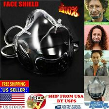 Face Shield Clear Transparent Face Mask Cover Lip Reading Smile Time Mask Black@