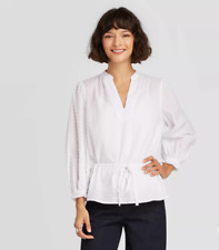 Women's Long Sleeve Tie Waist Blouse - A New Day - White - S - C519