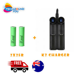 2x Samsung 2500mAh 25R Lithium Rechargeable Battery+2 slots Battery charger