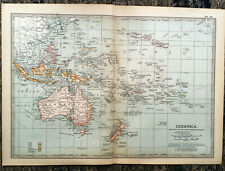 Antique Map Of Oceania Australia New Zealand 1903