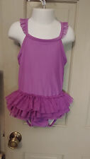 Girls Sz 5 Orchid Thin Strap n Ruffly Gymnastic Dance Leotard