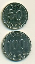 2 DIFFERENT COINS from SOUTH KOREA - 50 & 100 WON (BOTH DATING 2004)
