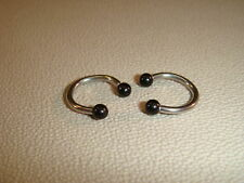 2 Piercing Ring Horseshoe Black/Black - 1,6mm - Steel/Acrylic - inkgrafix NEW