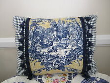 La Petite Ferme Blue Gold Yellow French Country Rooster Toile Lake Accent Pillow