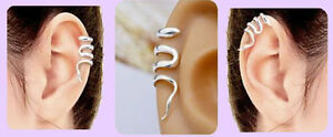SNAKE EAR CUFF 925 Sterling Silver Plate Upper Helix Clip on+Adjustable PUNK