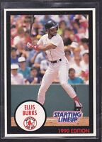 1990  ELLIS BURKS - Kenner Starting Lineup Card - Boston Red Sox - (BLUE)