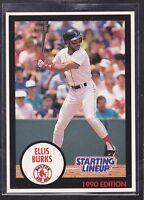1990  ELLIS BURKS - Kenner Starting Lineup Card - Boston Red Sox - (BLUE)
