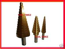 3 pc Step Cone Drill Set TiN Lathe Sheet Metal Work
