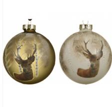 Stag Woodland Navidad Bolas Vidrio Hermosos Diseños Hecho a Mano Oro Champán