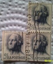 1962 U. S. Scott 1213 George Washington three used cancelled 5 cent stamps