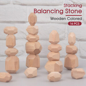 16PC Wood Toy Creative Wooden Colored Stacking Balancing Stone Building Blocks