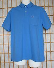 Vineyard Vines M Shirt New Blue Polo Pocket Short Sleeve Solid 100% Cotton