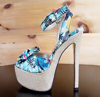 Luichiny Love Potion Blue Hawaiian Tropical Print Bow Strap Platform Shoe Size 5