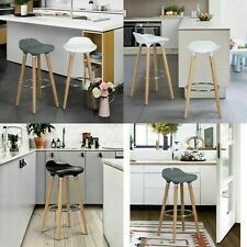 SET OF 2 BREAKFAST BAR STOOL HIGH CHAIR KITCHEN STOOL FOOTREST WHITE GREY BLACK