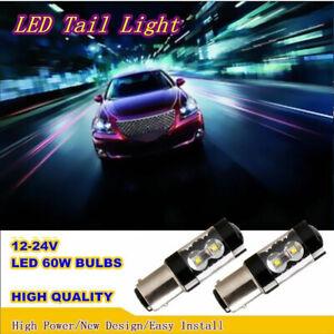 2x Yellow 1156 BA15S Hi-Power 60W Turn Signal Tail Backup LED Light Canbus Bulbs