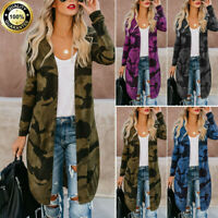 Womens Long Cardigan Camouflage Long Sleeve Tops Blouse Coat Outerwear Plus Size