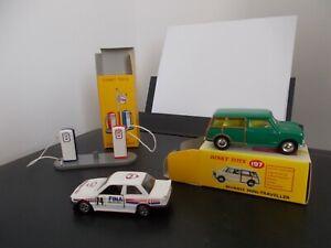 Atlas Dinky Toys Morris Minor Traveller/ESSO Petrol Pumps & Corgi BMW (FINA)
