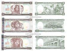 Eritrea 1 + 5 + 10 Nakfa 1997 Set of 3 Banknotes  3PCS  UNC
