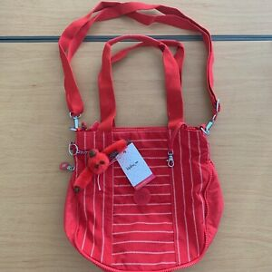 Kipling Striped Red Messenger Bag Lea Monkey NWT