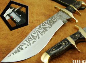 ALISTAR CUSTOM HANDMADE ACID ETCH STAINLESS STEEL HUNTING BOWIE KNIFE (4536-1