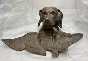 Antique Bronze Hunting Dog W Duck Bird In Mouth Inkwell Inkstand