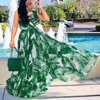 Ladies Sleeveless Stylish Chiffon With Belt V-Neck Printed Floral Maxi Dress