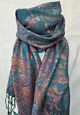 PASHMINA TEAL BLUE PINK FLORAL TASSEL WRAP SCARF SHAWL FRIEND MOTHERS DAY