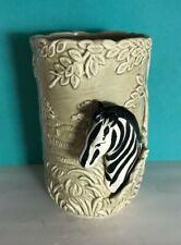 New listing Vintage Ceramic Zebra Vase Planter Quan Quan Qq Japan