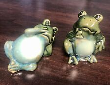 2 Vintage Ceramic Frog Figurines