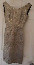 "WOMAN'S Vintage circa '60 Metallic Gold Brocade Evening Dress 34"" Bust  38"" Long"