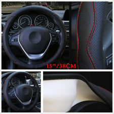 Universal Car Steering Wheel Cover 15''/38cm PU Leather For All Season Black&Red