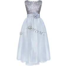Girls Kids Glitter Sequin Wedding Flower Girl Dress Pageant Prom Party Ball Gown